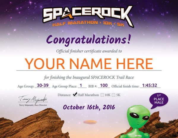 SPACEROCK Trail Race Certificate
